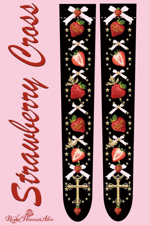 Strawberry Crossオーバーニーソックス(黒) 【即時発送】