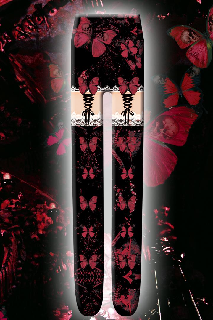 Gothic Butterflyタイツ【ローズレッド】(9月下旬~10月上旬お渡し予定)