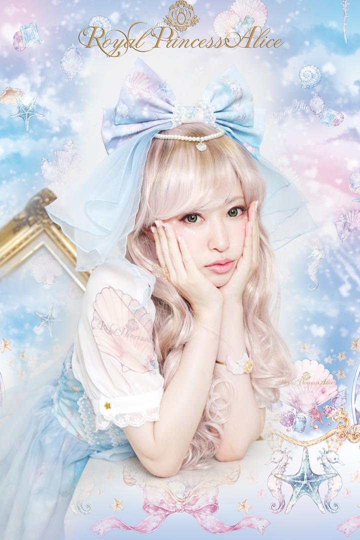 Pastel Marine Skyベール付きカチューシャ【マリンブルー】(8月上旬入荷予定)
