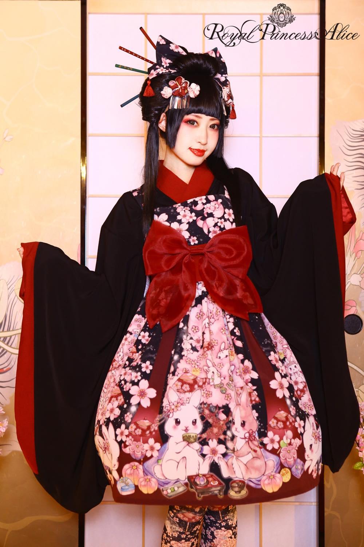 絢爛桜姫ジャンパースカート(夜桜ブラック)【たまコラボレーション】