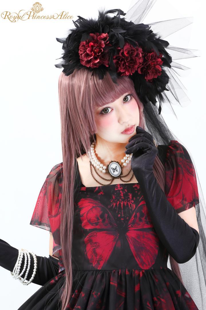 Gothic Butterflyフェザーベールハット【ローズレッド】(9月下旬~10月上旬お渡し予定)