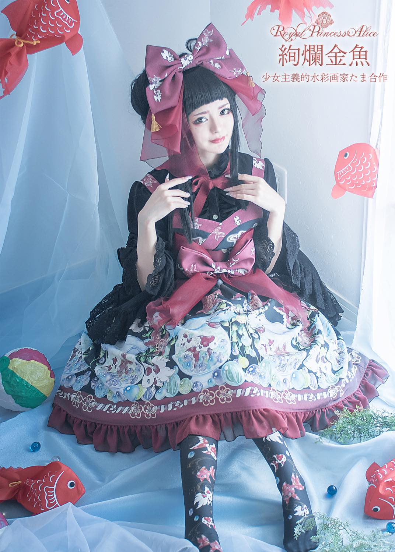 絢爛金魚(たまコラボ)帯付きドレス(黒)