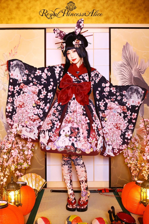 絢爛桜姫着物羽織ジャケット(夜桜ブラック)