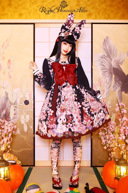 絢爛桜姫セーラーワンピース(夜桜ブラック)【たまコラボレーション】